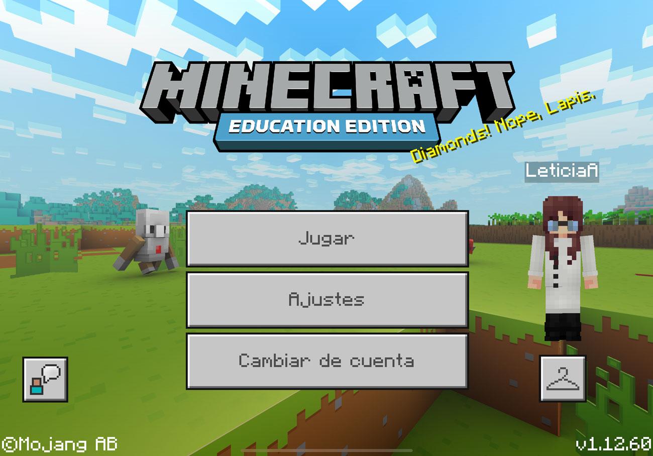 Pantalla de inicio de Minecraft:EE