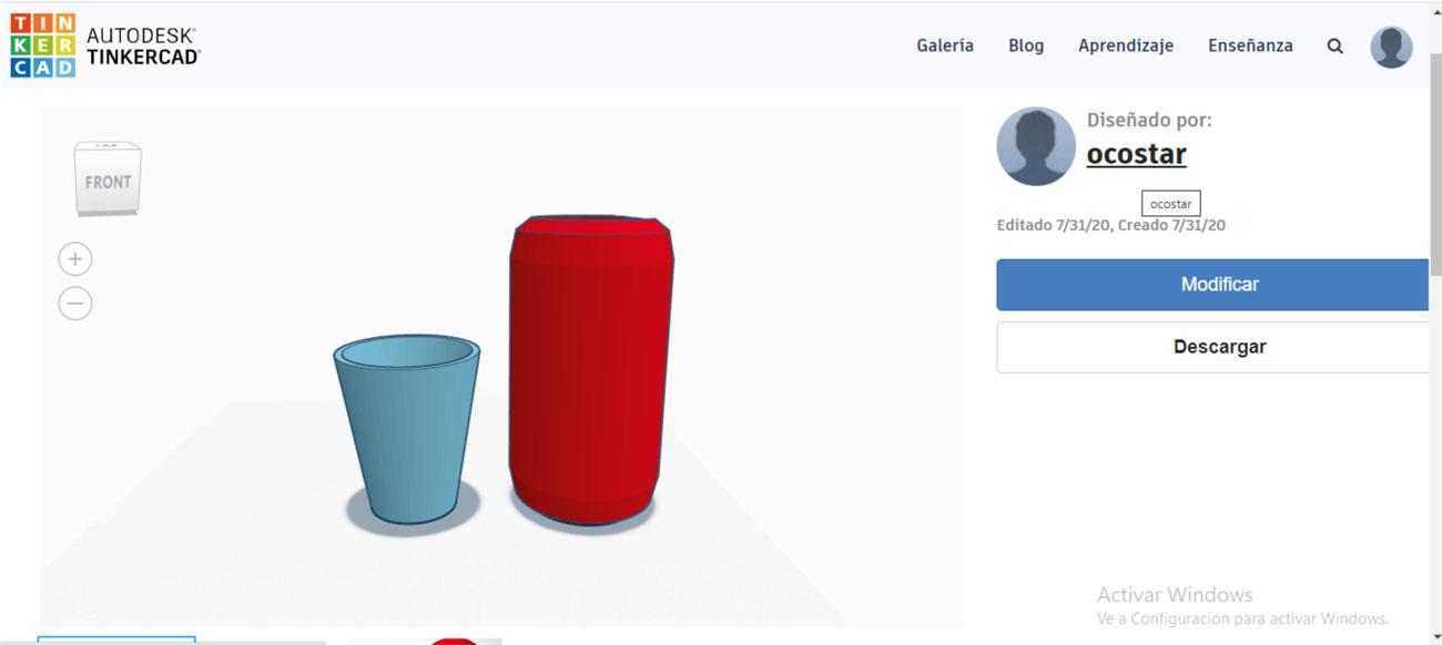 Ejemplo de visualización de los objetos creados. Elaboración propia