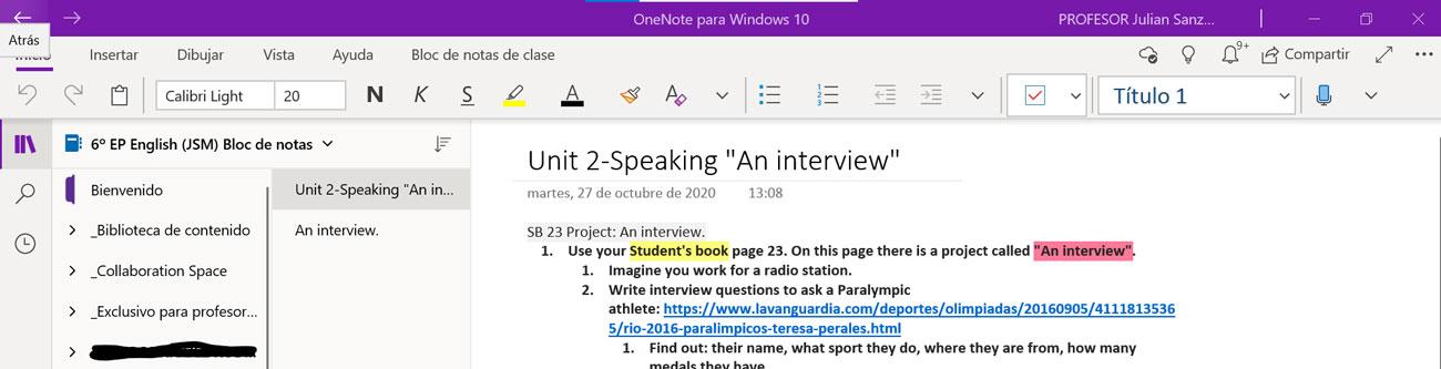 Interfaz One Note para Windows 10