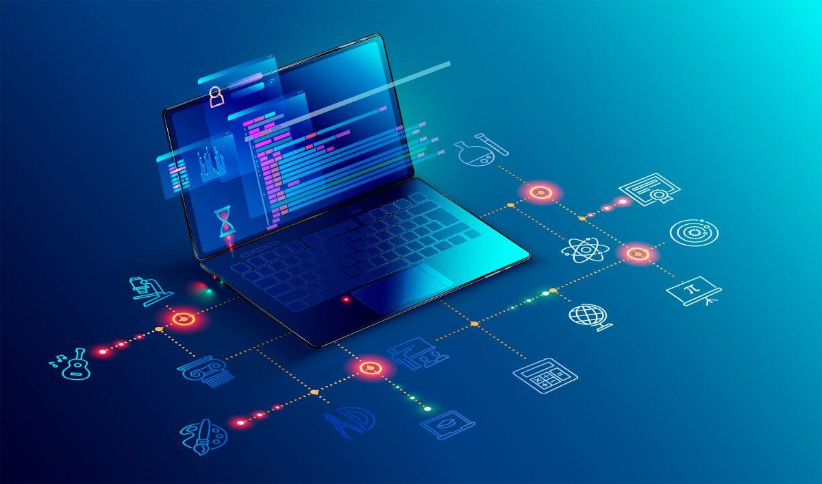 Ilustración en la que aparece un ordenador y varios iconos que salen de él