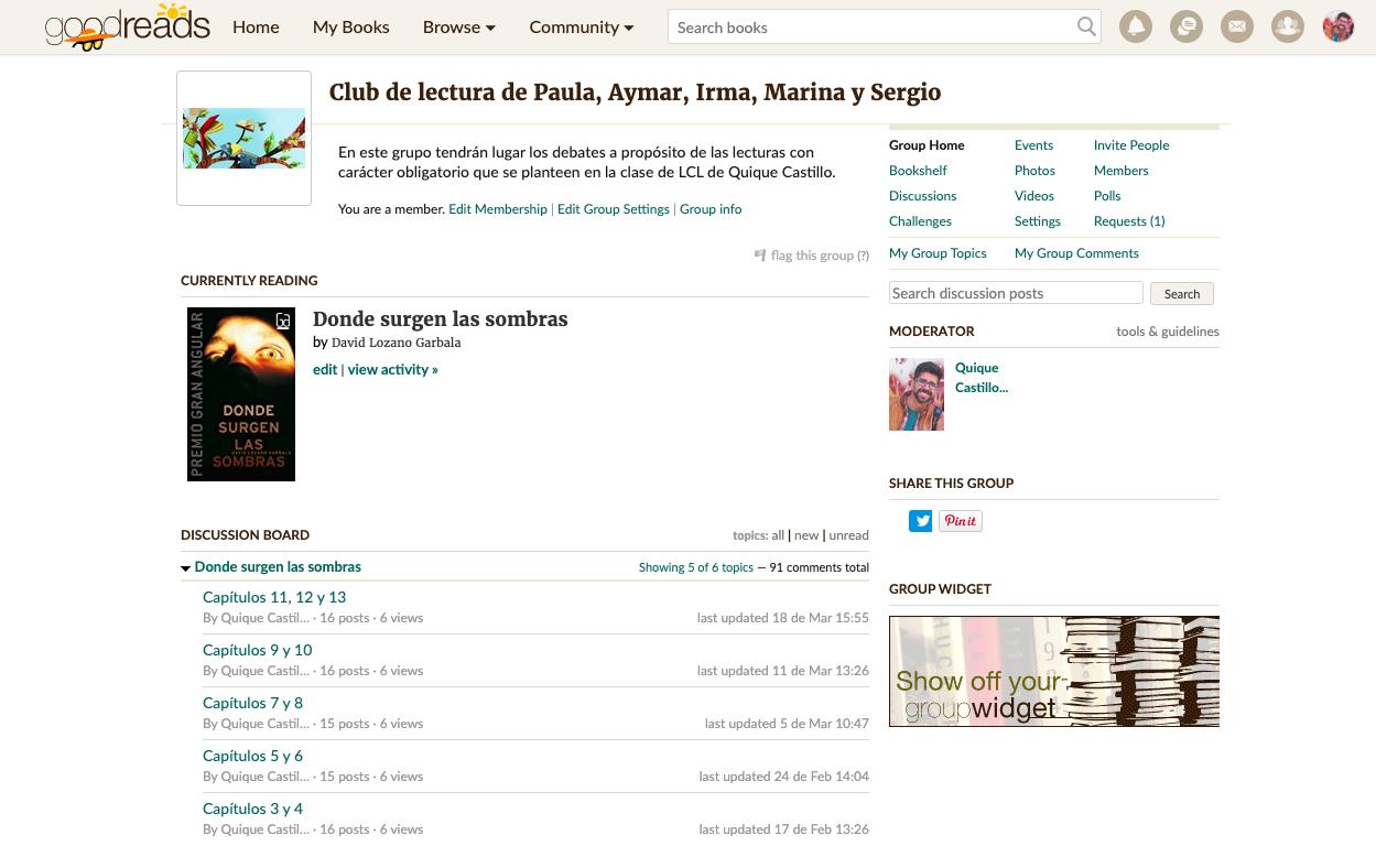Interfaz del grupo o club de lectura virtual.