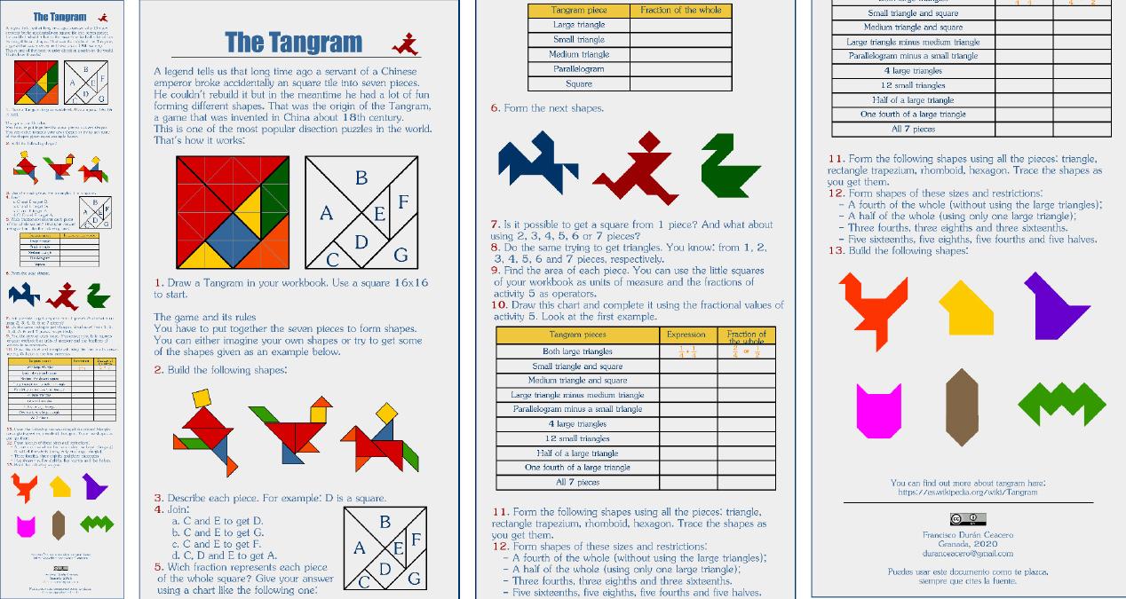 Documento para usar junto con el famoso puzle tangram, que contiene figuras, tablas y texto. Está realizado, íntegramente, con Inkscape.