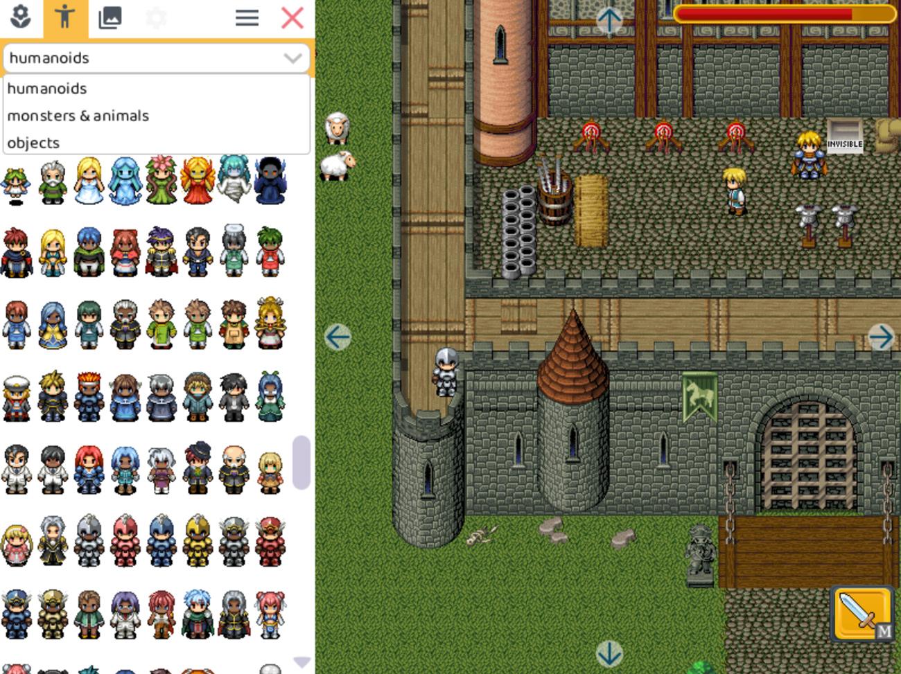 Algunas de las posibilidades de personajes en RPG Playgroun