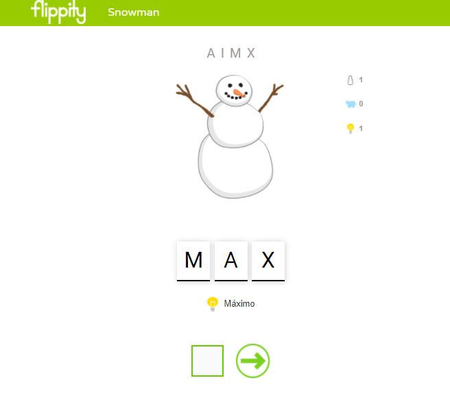Muñeco de nieve jugando al ahorcado