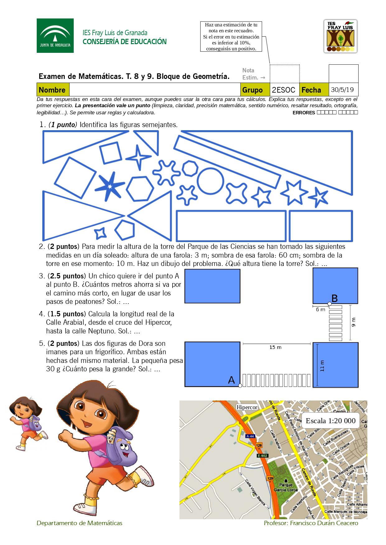 Ejemplo de examen que contiene varias imágenes generadas con Inkscape. Incluso las imágenes de Dora o el plano de la ciudad, que provienen de fuentes ajenas, se han tratado con Inkscape antes de incorporarlas al examen, por la facilidad del programa para ajustar tamaños, disponer objetos sobre otros objetos, etc.