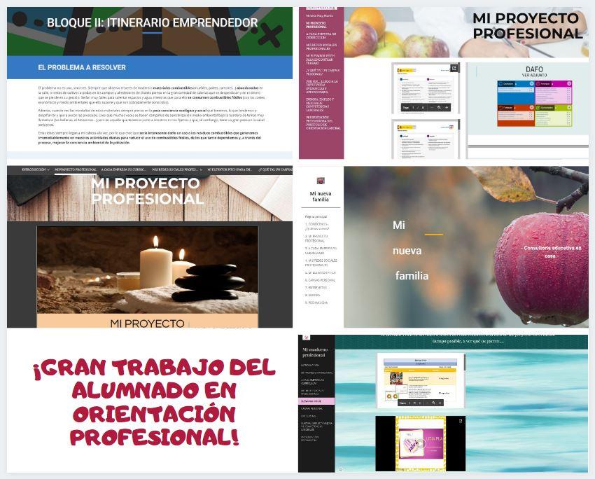 Webs con los proyectos profesionales y modelos de negocio del alumnado.