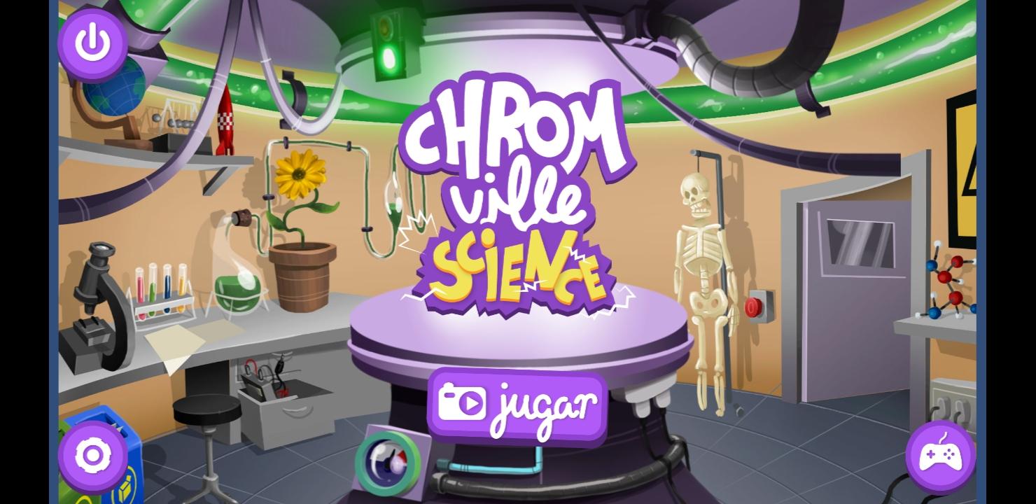 Imagen 1: Captura de pantalla de la pantalla principal de Chromville Science