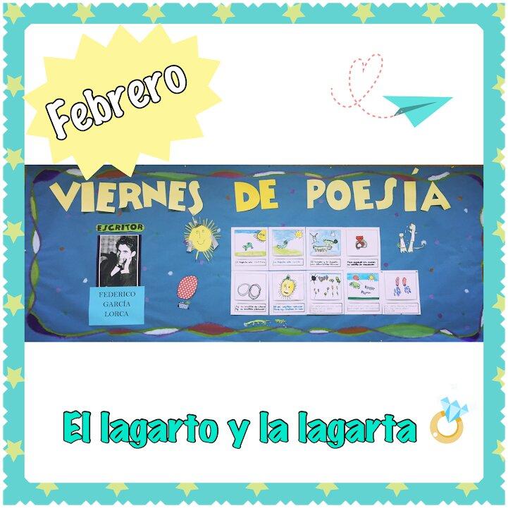 """Tablón de anuncios del proyecto """"Viernes de poesía""""."""