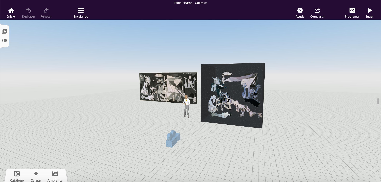 Diorama virtual del Guernica de Pablo Picasso. Vista general en CoSpaces EDU.
