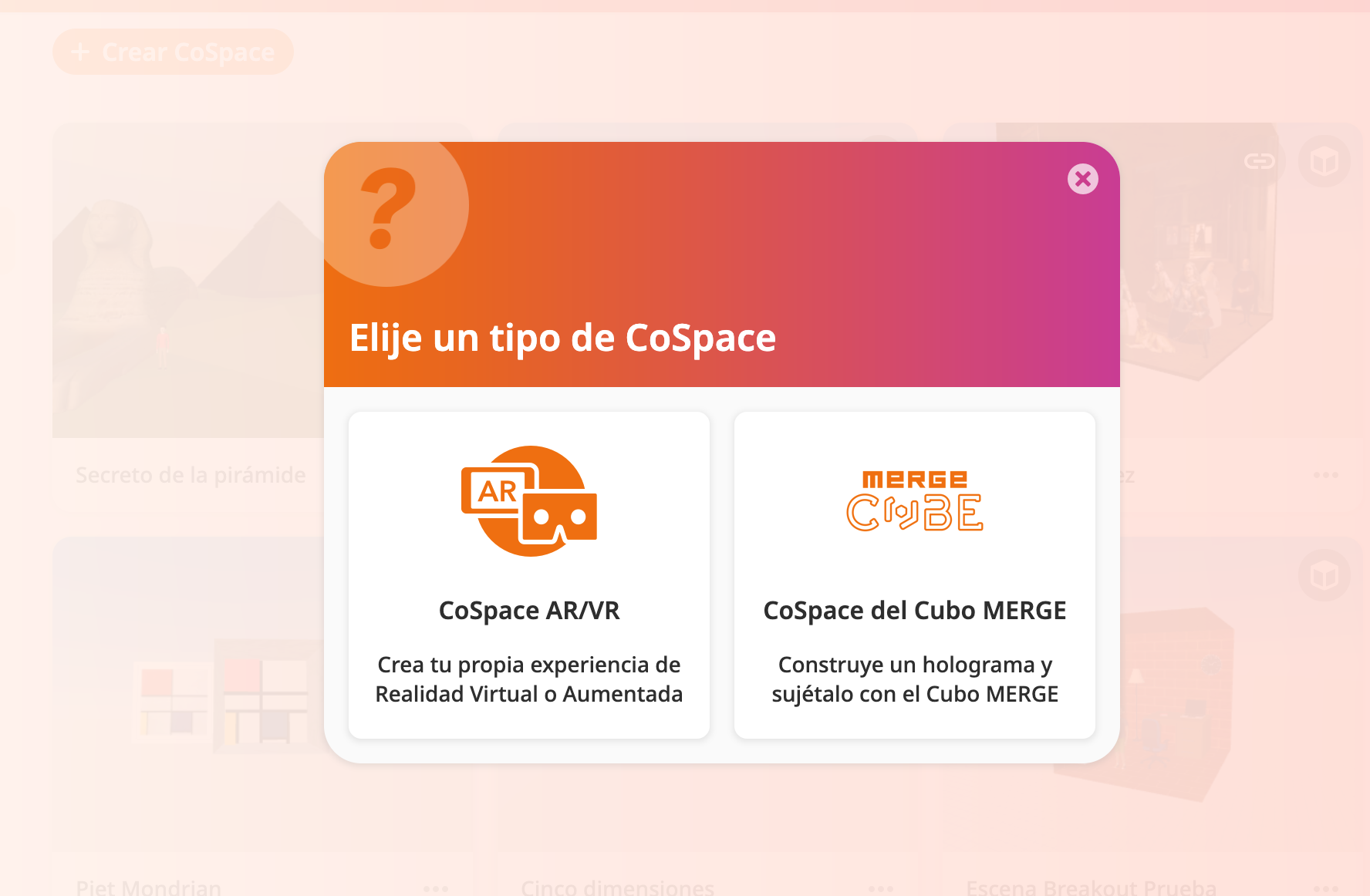 """Inicio en CoSpaces EDU, selección de add-on de """"Merge Cube""""."""