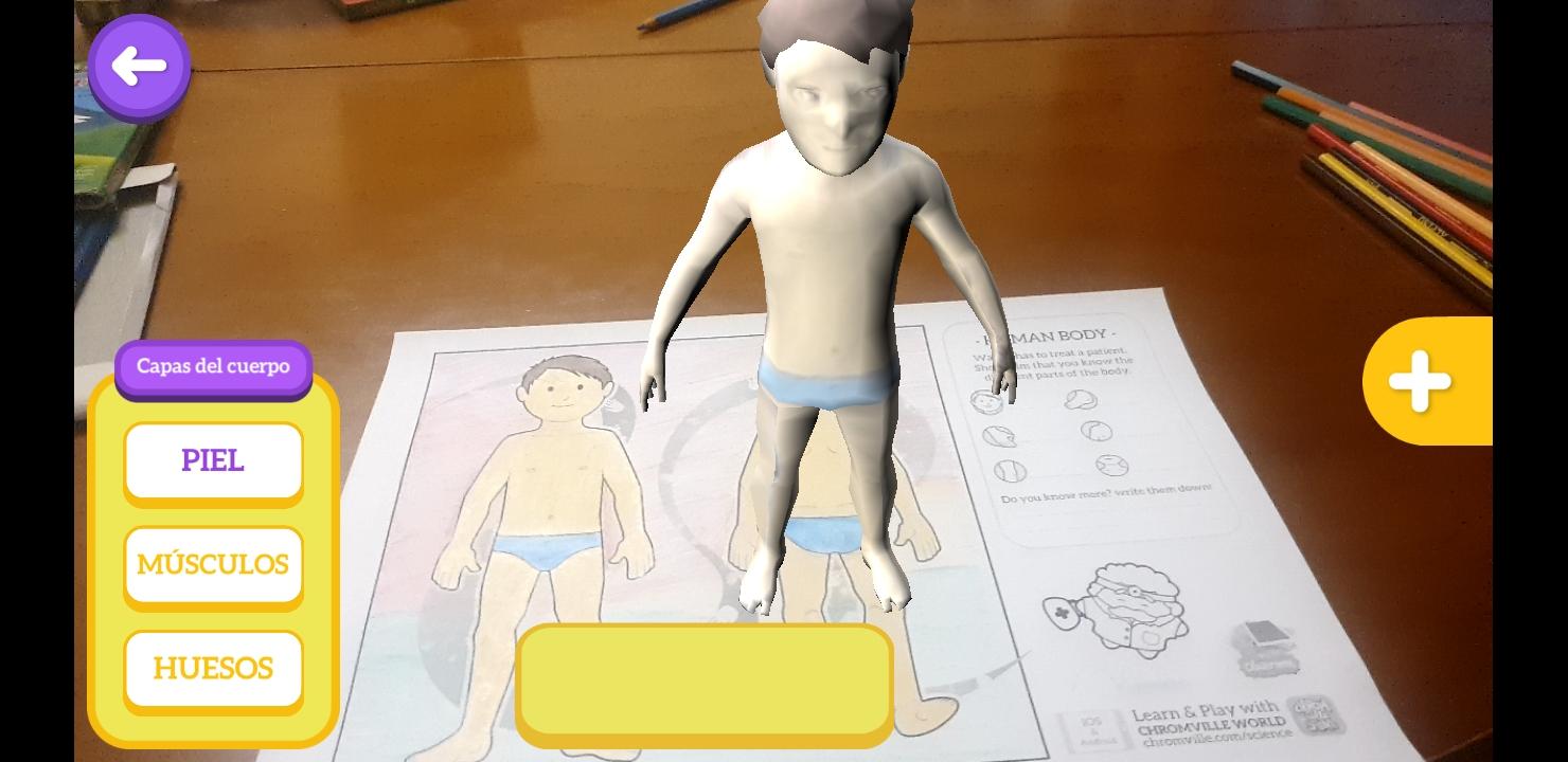 Imagen 7: Captura de pantalla de Chromville Science con la lámina del cuerpo humano
