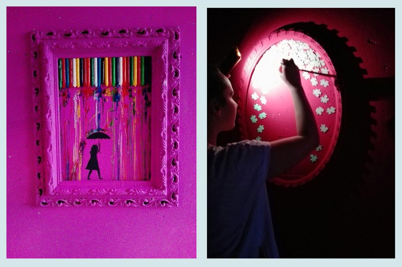 Creando (a cada alumna se le dio la posibilidad de expresarse de modo artístico en una franja del túnel).