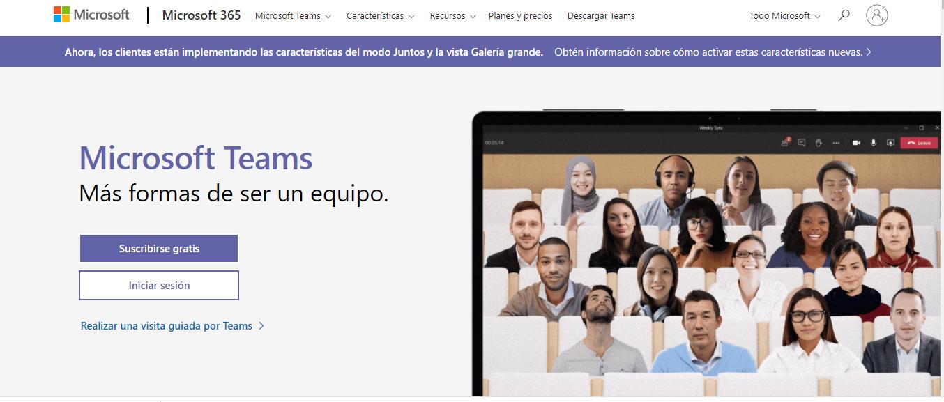 Pantalla de inicio de Microsoft TEAMS en su versión WEB