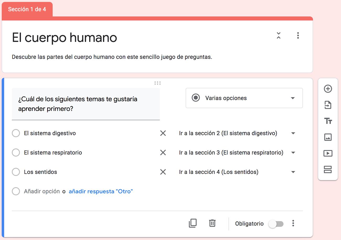 Imagen 3. Itinerarios de aprendizaje con Formularios de Google