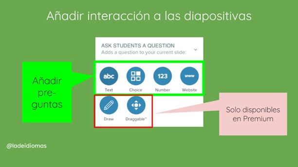 Imagen 12. Tipos de preguntas disponibles y posibilidad de incrustar páginas web.