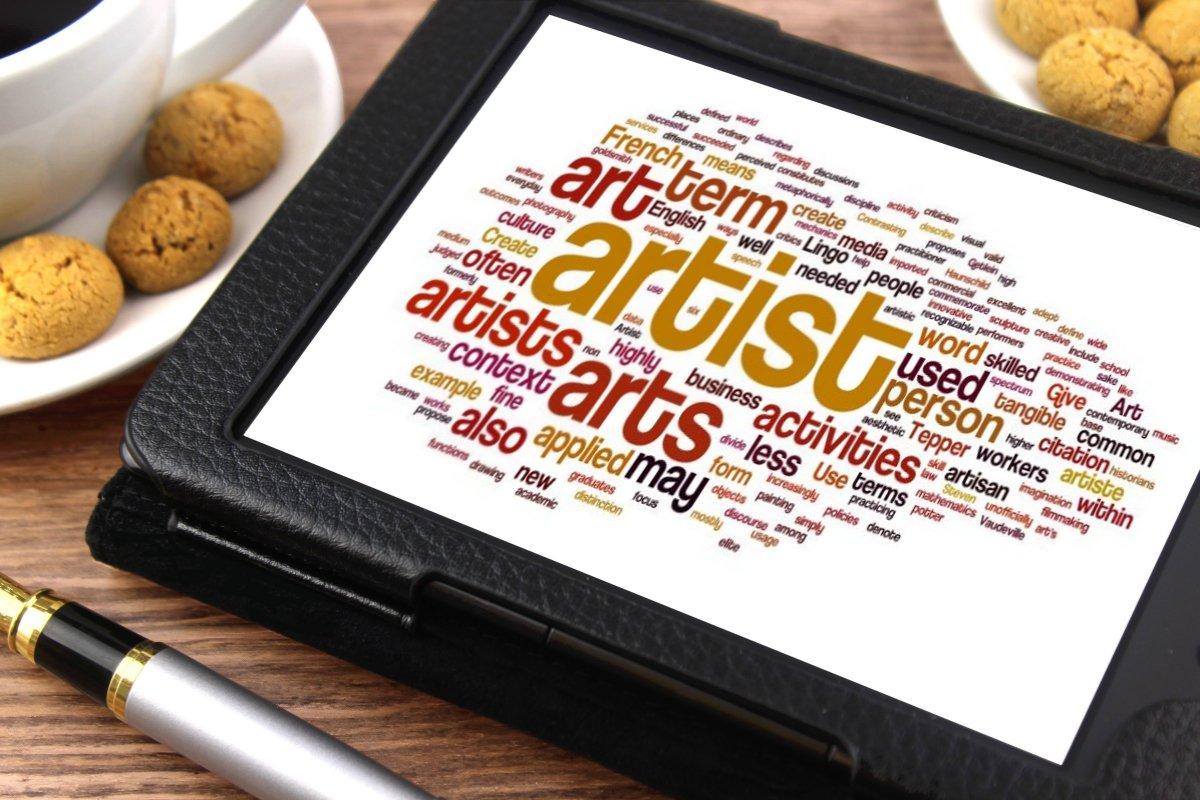 Ejemplo de nube de palabras facilitada para definir el Arte. Imagen obtenida de https://www.thebluediamondgallery.com/tablet/a/artist.html Artist by Nick Youngson CC BY-SA 3.0 Alpha Stock Images