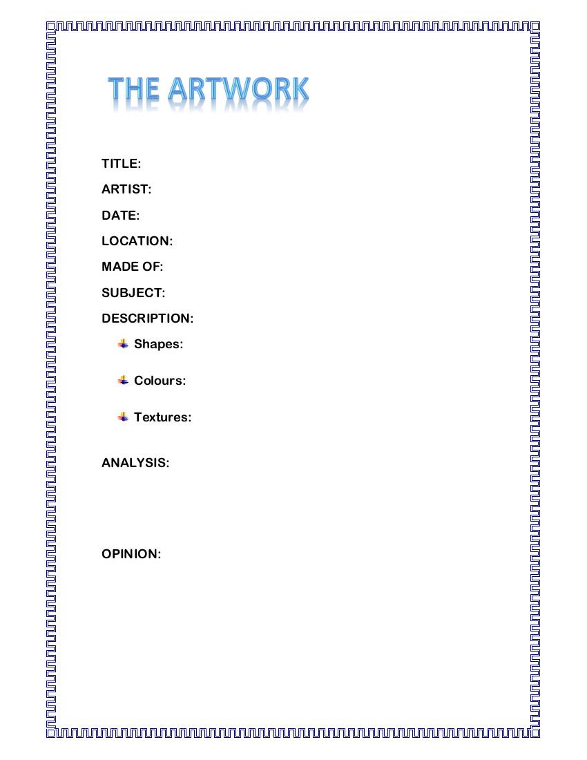Guión para la descripción de una obra de arte.