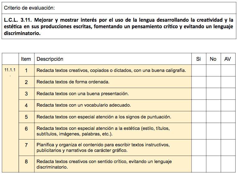 Lista de cotejo. Criterio 3.11. Lengua Castellana y Literatura.