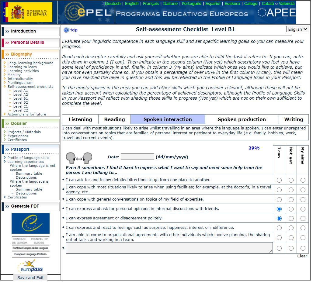 Ejemplos de descriptores marcados en el ePEL +14.