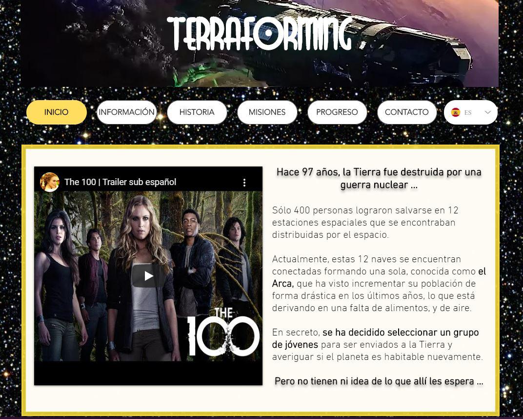 Pantalla de inicio de la página web.